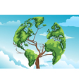 Tree shaped world map vector image