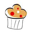 A cupcake is placed vector image vector image