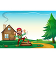 A hilltop with a happy lumberjack cheering vector image