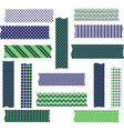 Navy Green Washi Tape Graphics set vector image