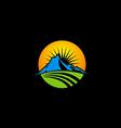 mountain icon nature sun logo vector image