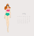Calendar with fashion girl 2015 vector image