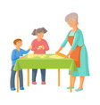 grandmother and children rolling out dough vector image