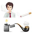 Man smoking and pipes vector image