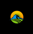 mountain icon nature sun logo vector image