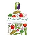 Natural vegetarian food symbol of vegetables icons vector image