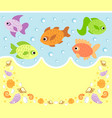 sea animals cartoon background card with fish vector image