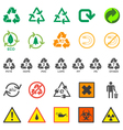various recycle and hazardous sign set vector image