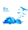 Watercolor sky background vector image