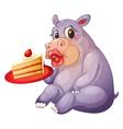 hippopotamus and pastry vector image