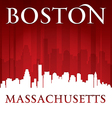 Boston Massachusetts city skyline silhouette vector image