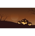 Silhouette of funny pumpkins in fields vector image