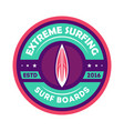 extreme surfing camp vintage isolated label vector image