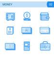 flat line money icon set safe card cash wallet vector image
