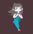 Sad Cartoon Girl Running vector image