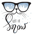 Cat in the glasses in which winter is reflected vector image
