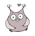 cute funny happy cheerful in love owl bird vector image