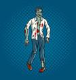 walking zombie pop art style vector image vector image