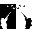 Silhouettes of ducks hunter vector image