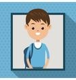 boy blue tshirt student frame dot shadow vector image