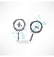 Brush icon with two zoom magnifiers vector image
