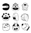 Doodle Outline Cartoon Funny Monster Faces vector image