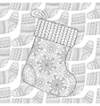 Winter knitted ethnic Sock for gift from Santa on vector image