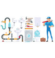 plumbing elements collection vector image vector image