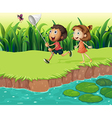 Kids catching butterflies vector image vector image