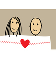 Enamored couple in bed vector image