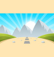 cartoon landscape mountain sun light vector image