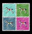 set of flat shading style icons kids rocking horse vector image