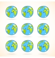 Cute funny cartoon Earth globe with face emotions vector image