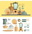 Kitchen cooking utensils icons isolated on white vector image