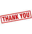 thank you red square grunge stamp on white vector image