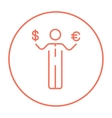 Businessman holding Euro and US dollar line icon vector image