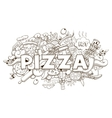 Pizza hand drawn title design vector image