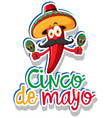 sticker template for cinco de mayo with red chili vector image
