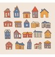 Hand drawn house set vector image