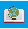 cute boy book open globe vector image