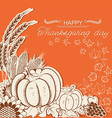 Thanksgiving day card with pumpkins and autumn vector image