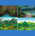 four scenes of forests vector image vector image
