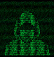 hacker on binary code background vector image