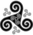Black and white celtic triskel symbol vector image