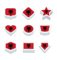 albania flags icons and button set nine styles vector image