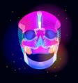bright human skull over dark vector image