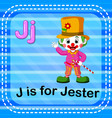 flashcard letter j is for jester vector image