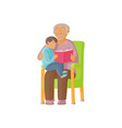 flat grandfather with girl kid reading book vector image