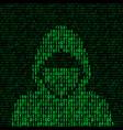 hacker on binary code background vector image