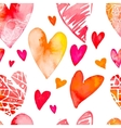 Watercolor heart Valentine Day Seamless vector image